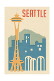 Seattle, Washington - Woodblock Prints by  Lantern Press