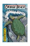 Orange Beach, Alabama - Sea Turtles Woodblock Print Posters van  Lantern Press