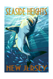 Seaside Heights, New Jersey - Stylized Shark Posters by  Lantern Press