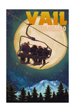 Vail, Colorado - Ski Lift and Full Moon Print by  Lantern Press