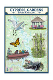 Cypress Gardens, South Carolina - Nautical Chart Prints by  Lantern Press