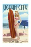 Ocean City, New Jersey - Surfing Pinup Girl Art