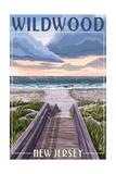 Wildwood, New Jersey - Beach Boardwalk Scene Prints by  Lantern Press