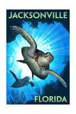 Jacksonville, Florida - Sea Turtle Diving Kunst van  Lantern Press