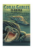Coral Gables, Florida - Alligators Art by  Lantern Press