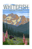 Whitefish, Montana - Bear and Spring Flowers Print