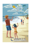 Corolla, North Carolina - Kite Flyers Prints by  Lantern Press