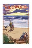 Wildwood, New Jersey - Beach and Sunset Prints by  Lantern Press