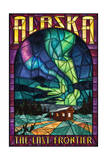 Alaska - Cabin and Northern Lights Stained Glass Print by  Lantern Press