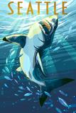 Seattle, Washington - Great White Shark Posters by  Lantern Press