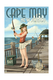 Cape May, New Jersey - Fishing Pinup Girl Poster by  Lantern Press