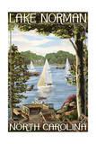 Lake Norman, North Carolina - Lake View with Sailboats Poster by  Lantern Press