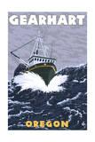 Gearhart, Oregon - Crab Fishing Boat Scene Prints by  Lantern Press