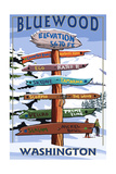 Bluewood, Washington - Ski Signpost Art by  Lantern Press