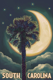 South Carolina - Palmetto Moon and Palm Poster by  Lantern Press