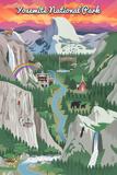 Yosemite National Park, California - Retro Views Posters by  Lantern Press