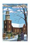 Williamsburg, Virginia - Bruton Parish Daytime Winter Scene Posters by  Lantern Press