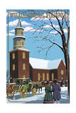 Williamsburg, Virginia - Bruton Parish Daytime Winter Scene Posters