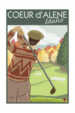 Coeur D'Alene, Idaho - Golfer Prints by  Lantern Press