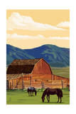 Red Barn and Horses Posters