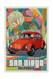 San Diego, California - VW Bug Prints by  Lantern Press