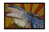 Alligator - Paper Mosaic Poster by  Lantern Press