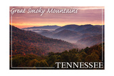 Great Smoky Mountains, Tennessee - Sunset Prints by  Lantern Press