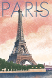 Paris, France - Eiffel Tower and River - Lithograph Style Prints