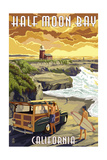 Half Moon Bay, California - Woody and Lighthouse Prints by  Lantern Press