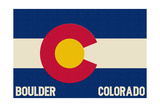 Boulder, Colorado - Colorado State Flag Prints by  Lantern Press