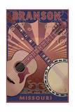 Branson, Missouri - Guitar and Banjo Prints by  Lantern Press