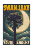 Swan Lake, South Carolina - Palmetto Moon and Palm Prints by  Lantern Press