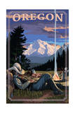 Oregon - Cowboy Camping Night Scene Prints by  Lantern Press