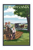 Pennsylvania - Amish Farm Scene Posters by  Lantern Press