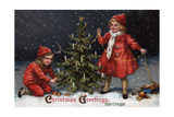 Christmas Greetings from Forest Grove, Oregon - Kids Decorating a Tree Prints by  Lantern Press