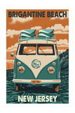 Brigantine Beach, New Jersey - VW Van Print by  Lantern Press