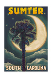 Sumter, South Carolina - Palmetto Moon and Palm Posters by  Lantern Press