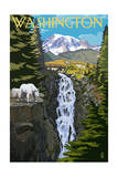 Washington - Mountain Goats and Falls Prints by  Lantern Press