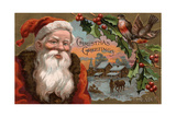 Christmas Greetings from Colorado - Santa with Holly, Village Scene Print by  Lantern Press