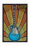 Branson, Missouri - Mosaic Guitar Poster by  Lantern Press
