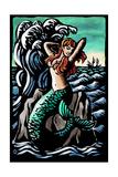 Mermaid - Scratchboard Print by  Lantern Press