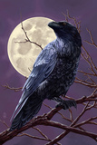 Raven and Moon Purple Sky Posters by  Lantern Press