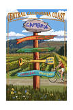 Central California Coast - Vineyard Signpost Posters by  Lantern Press