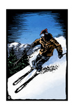 Downhill Skier - Scratchboard Posters by  Lantern Press