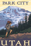 Park City, Utah - Mountain Hiker Prints by  Lantern Press