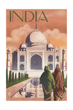 Taj Mahal, India - Lithograph Style Poster by  Lantern Press