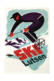 Lutsen Mountains, Minnesota -Retro Skier Prints by  Lantern Press