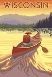 Wisconsin - Canoe Scene Reprodukcje autor Lantern Press
