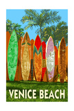Venice Beach, California - Surfboard Fence Prints by  Lantern Press