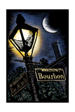 Bourbon Street - New Orleans, Louisiana - Scratchboard Prints by  Lantern Press